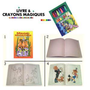 Livre de coloriage et CRAYONS MAGIQUES